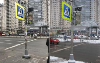 """A composite image of the lamp post with the stickers and after the """"cleaning"""""""