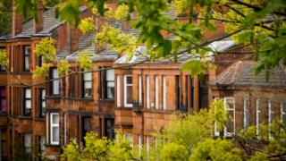 Row of Red Sandstone Tenement Flats Southside of Glasgow