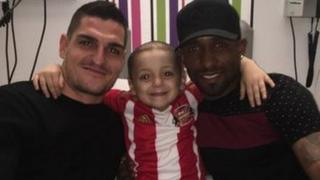 Vito Mannone Bradley Lowery and Jermain Defoe