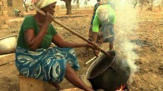 Heating the shea nuts in Anateem, Ghana