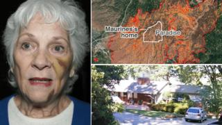 Photo composite showing Maurine and her house before the fire