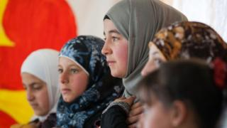 Syrian refugee girls in the Zaatari camp in Jordan