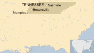 A map showing the location of Brownsville, Tennessee