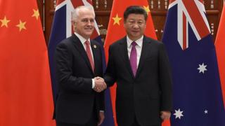 Australian leader Malcolm Turnbull and Chinese counterpart Xi Jinping in China last year