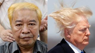 Le Phuc Hai with his new Donald Trump-styled hair, alongside a picture of Donald Trump.