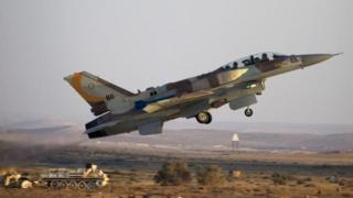 An Israeli F-16 takes off