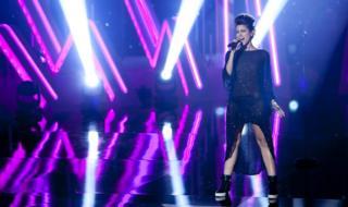 Singer Barei performing on stage