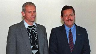 Clive Derby-Lewis (R) with Janusz Walus, the other man committed to life imprisonment for the assassination of Chris Hani
