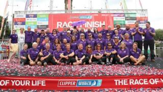 The crew of the Derry-Londonderry-Doire celebrate their second place in a closely fought finish to this year's Clipper Round the World Yacht Race.