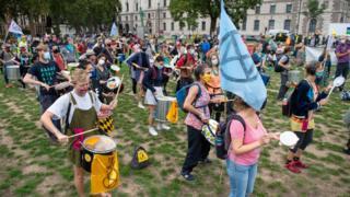 Extinction Rebellion protest at Parliament Sq
