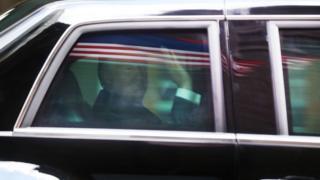 Trump in car
