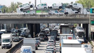 Rush hour traffic fills the ring road in Paris, France, on 28 June 2017