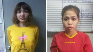 Đoàn Thị Hương và Siti Aisyah hôm bị bắt