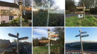 Rusting fingerposts in Somerset