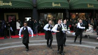 waiters outside Harrods