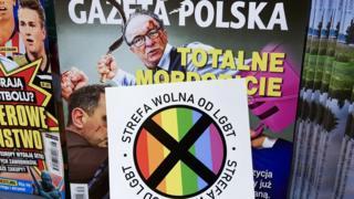 Copy of Gazeta Polska, with the anti-LGBT sticker