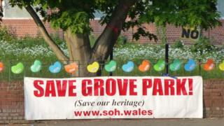 Banner outside Groves High School