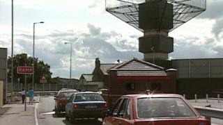 An Army checkpoint in Strabane in 1992