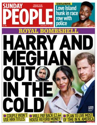 The Sunday People front page 19/01/29