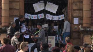 Protestors outside Lambeth library