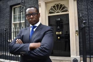 David Harewood outside 10 Downing St
