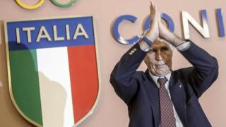 Italian Olympic Committee president Giovanni Malago gestures during a press conference in Rome on 21 September