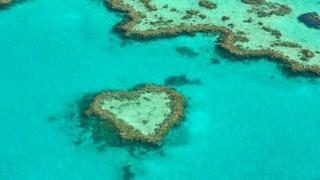 Isla de coral en forma de corazón