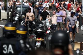 French police face England fans in Marseille, 11 Jun 16