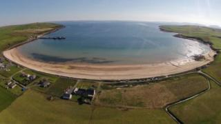 Scapa beach looking out over Scapa flow in Orkney