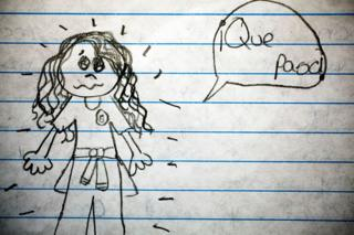Uno de los dibujos de los niños del Centro Educativo Dr. Bloem en Sacoj Mixco y la escuela oficial del asentamiento La Paz en Villa Nueva de Guatemala sobre violencia.