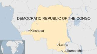map of DRC showing location of Luena, Lubumbashi and Kinshasa