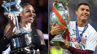 Serena Williams and Cristiano Ronaldo holding trophies