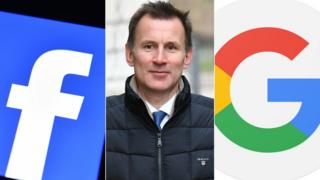 Facebook logo, Jeremy Hunt, Google logo