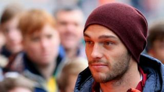 Andy Carroll is seen on arrival at the stadium prior to the Barclays Premier League match between Norwich City and West Ham United at Carrow Road on 13 February 2016 in Norwich, England.