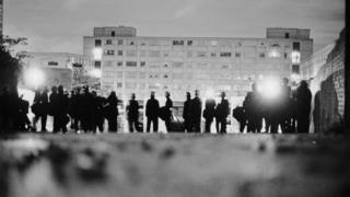Police officers on the Broadwater Farm housing estate he morning after the riot of 6th October 1985.