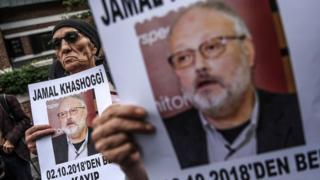 Демонстрация у консульства Саудовской Аравии в Стамбуле, где, по данным турецких спецслужб, был убит Джамаль Хашогги