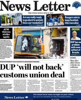 Belfast News Letter front page Monday 8 April