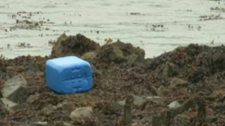 Oil drum washed up in Carlingford Lough