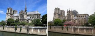 собор до пожара (июнь 2017-го) и после (16 апреля 2019-го)