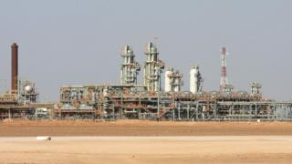 """This Sunday, Dec. 14, 2008 file picture shows the Krechba gas plant on the In Salah gas field in Algeria""""s Sahara Desert, some 1,200 kilometers (720 miles) south of the capital, Algiers, Algeria."""