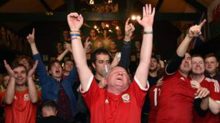 Wales fans in Cardiff