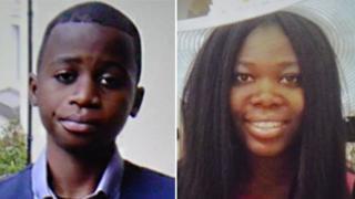 Bonheur Musungay, 14, and Stella Kambi, 17,