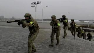 Still from Russian special forces training video in Kaliningrad