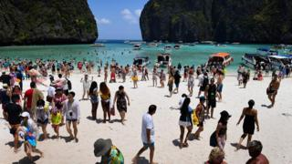 Maya Bay crowded with tourists in April 2018.