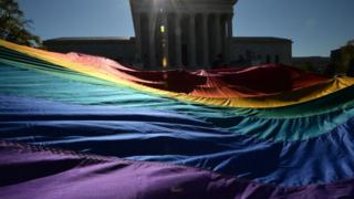 LGBTQ protest outside the Supreme Court