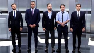 science (L-R): Pablo Casado, Pedro Sánchez, Santiago Abascal, Pablo Iglesias and Albert Rivera