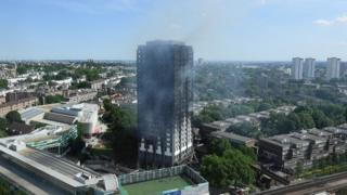 A general view of the burning 24 storey residential Grenfell Tower block in Latimer Road