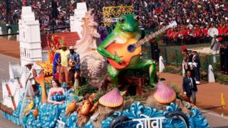 A float from Goa state is displayed during India's Republic Day parade in New Delhi, 26 January 2020.