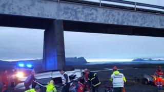Site of car accident where three British people including child have been killed on the Núpsvötn bridge on Iceland's ring road between the town of Kirkjubæjarklaustur and area of Skaftafell