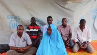 A still taken from a video showing six kidnapped aid workers in Nigeria